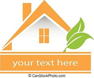 vector, casa, Leafs, logotipo, tarjeta, diseño,