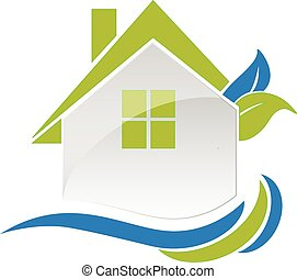 Green ouse leafs and waves logo - Vector house leafs logo...