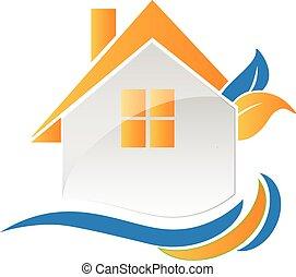 casa, Leafs, y, ondas, logotipo,
