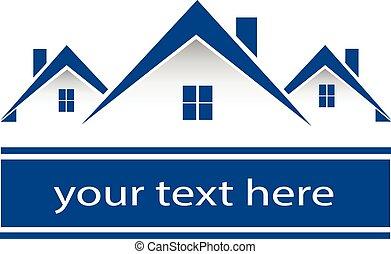 verdadero, propiedad, Casas, logotipo,