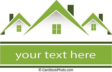 verdadero, propiedad, verde, Casas, logotipo,