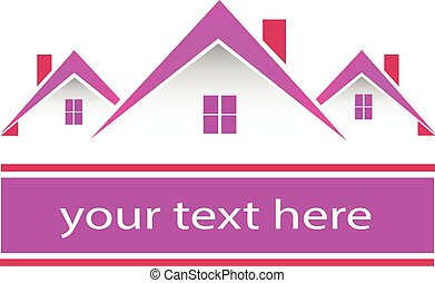 Real estate pink houses logo - Real estate houses logo...