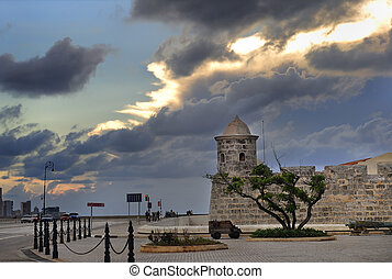 "Havana fort - Detail of fort ""La Punta\"" and skyline in..."