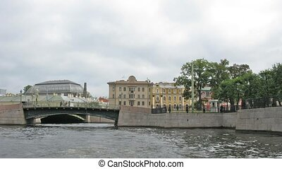 river Neva. Saint Petersburg. Time lapse - River Neva. Saint...