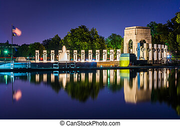 The National World War II Memorial at night at the National...