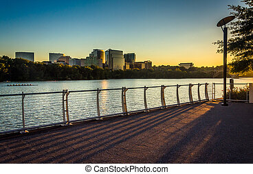 The Rosslyn skyline at sunset, seen from the Georgetown...