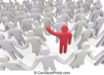 Man stands among the crowd of people. Concept of individuality
