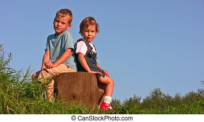 children on stump - Children on stump