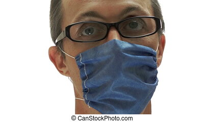 Man Medical Mask Glasses - Close up shot of a man isolated...