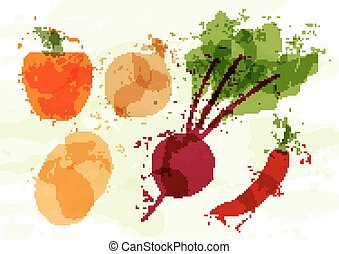Set of colorful fresh vegetables stains