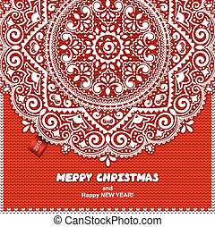 Beautiful Christmas lace ornament with a knitted background