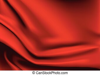 Red silk fabric background - Vector of Red silk fabric...