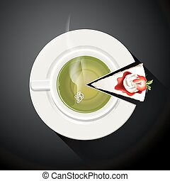 Green tea cup and Cake slices
