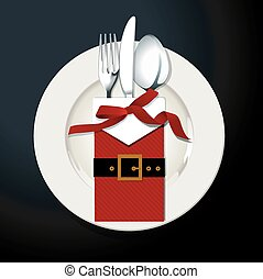 Christmas table setting. - Vector illustrator of Christmas...