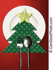 Christmas table setting. - Vector illustrator of Christmas...