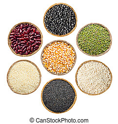 set of cereals seeds beans, red beans, black beans, green...