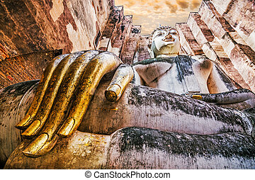 Ancient buddha statue Sukhothai Historical Park,The old town...