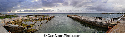 Stormy ocean panorama - Panoramic view of coast with stormy...
