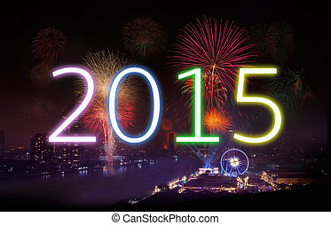 New Year 2015 with Fireworks Party - New year concept,...