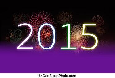 New Year 2015 and Fireworks with Copy Space. - New year...
