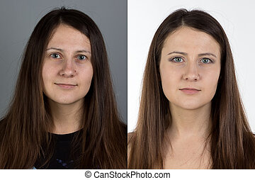Photo of young woman with make up - before and after
