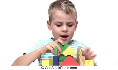 child with wood toy cubes - Child with wood toy cubes