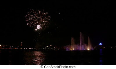 fireworks and fountain on Neva - Fireworks and fountain on...