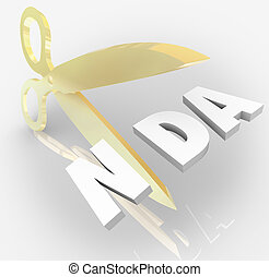NDA Non Disclosure Agreement Scissors Cutting Letters...