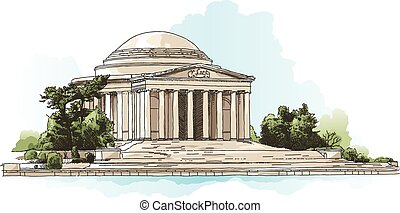 Jefferson Memorial - Illustration of the Jefferson Memorial...