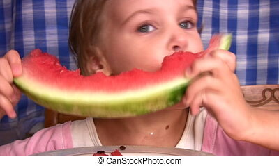 little girl with watermelon - Little girl with watermelon