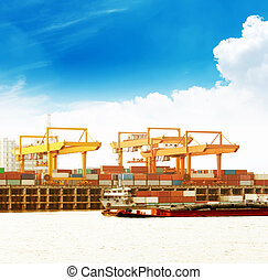 Large container ship in a dock at port