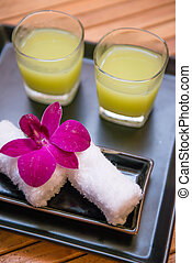 welcome drink guava juice and refreshing towel, hotel