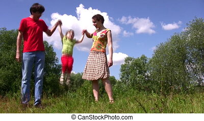 Family carry jumping daughter