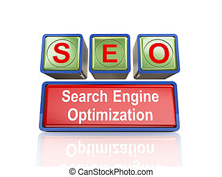 3d boxes of concept of seo