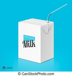 Milk package with drinking straw
