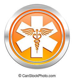 アイコン, 病院, 緊急事態, 印