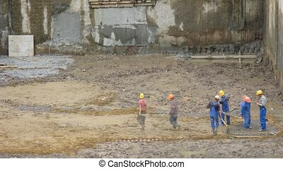 Workers construction time lapse - Workers on construction,...