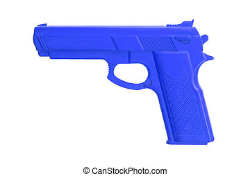Blue training gun isolated on white, law enforcement