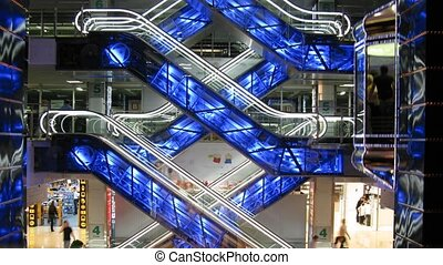escalators in shop - Escalators in shop