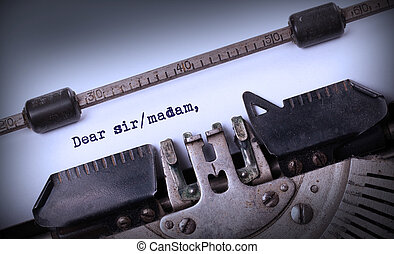 Vintage inscription made by old typewriter, Dear sirmadam