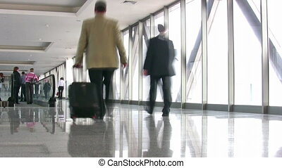 business people in corridor