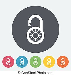 Padlock. Single flat icon on the circle. Vector...