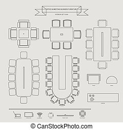 Office and Conferance Business Furniture Icon, Top View for...