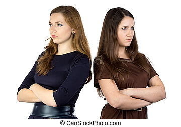 Photo of two serious women