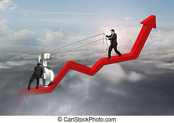 two businessmen moving dollar sign upward on red trend line...