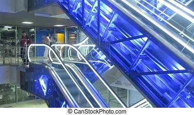escalator from elevator in shop - Escalator from elevator in...