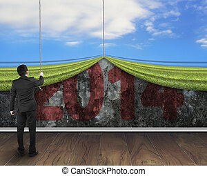 businessman pulling down natural sky curtain to cover old...