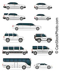 set of cars for the transportation passengers vector...