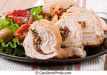 Rolled Chicken with spinach and sun-dried tomatoes