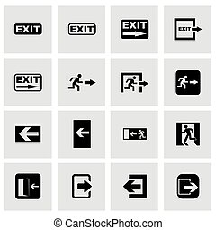 Vector black exit icon set on grey background